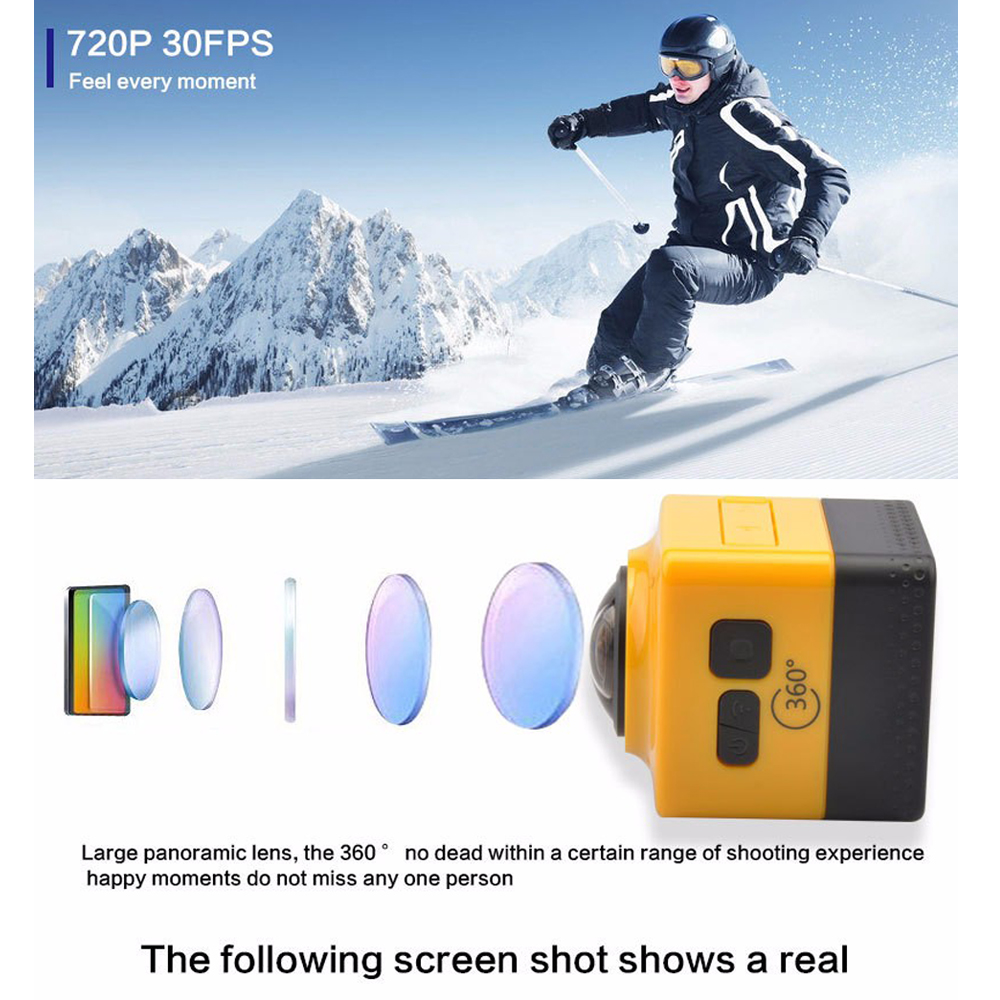 CUBE 360 Mini Sports Action Camera 720P 360-degree Panoramic VR Camera Build-in WiFi H.264 360x190 Large Panoramic Video Camera insta360 air 3k hd 360 camera dual lens panoramic camera compact mini vr camera for samsung oppo huawei lg andriod smartphone