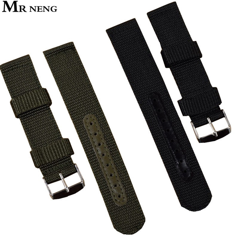 MR Black Green Waterproof Fabric Nylon strap 22mm With Steel Silver Buckle Sport Wrist Watch