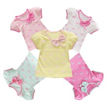 Baby Girls Sleeve Bow Printed T-Shirts