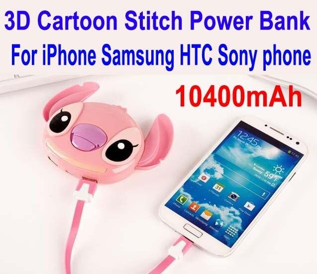 20 pc/lote fedex livre 3d ponto dos desenhos animados banco do poder 10400 mah carregador de bateria externa para iphone samsung htc sony sem telefone: P002