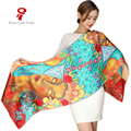 Scarf  100% silk Long Soft Scarf women Luxury Brand Spring Autumn Female Shawl Printed Flower Shawls big size Beach Cover-ups