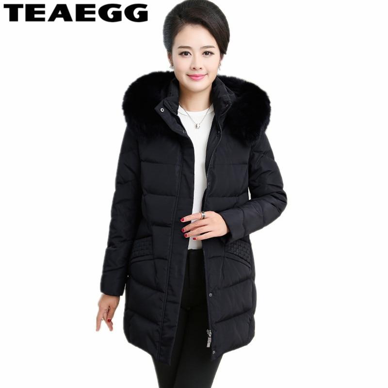 TEAEGG Plus Size 4XL Black Womens Down Jacket Famale Paekas Faux Fur Collar Hat Detachable Winter Jacket Women Clothing AL280