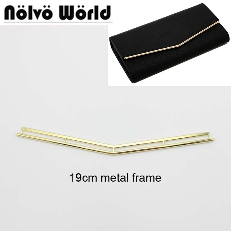 50pcs Bulk Order 19cm Light Gold Fashion Triangular Decorated Metal Edge Clip For Diy Bags Purse Wallets Flap