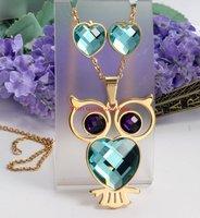 Moda baykuş takı kadınlar için renkli kristal taş kolye ve küpe takı setleri