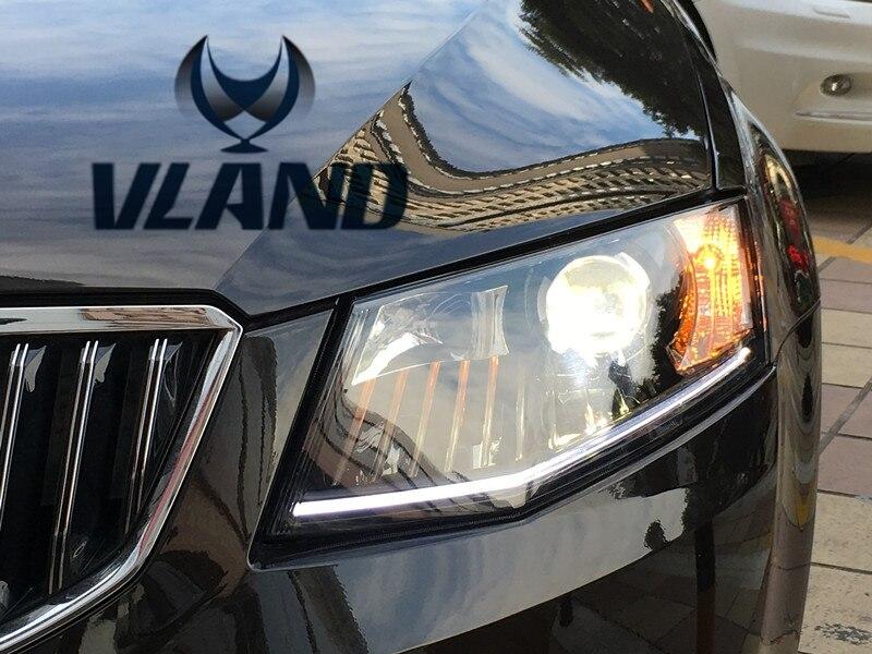 VLAND manufacturer for Car head lamp for Skoda Octavia LED Headlight 2014-2016 Head light with H7 Xenon lamp and Day light vland 2pcs car light led headlight for jetta headlight 2011 2012 2013 2014 demon eyes head lamp