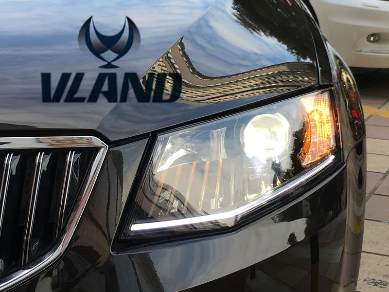 VLAND manufacturer for Car head lamp for Skoda Octavia LED Headlight 2014 2016 Head light with H7 Xenon lamp and Day light