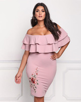 DERUILADY Sexy Package Hip Women Dress Off The Shoulder Embroidery Plus Size Knee Length Dresses Ruffles