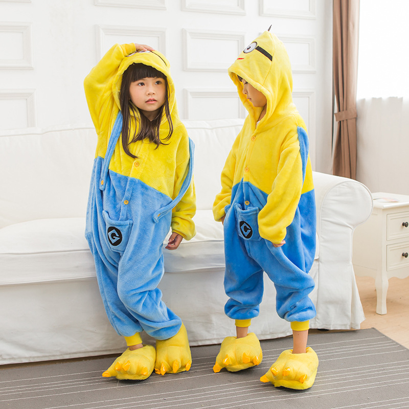 children Minion Onesie Cosplay pajamas children minion Pajamas Christmas Sleepwe Costume Kigurumi Blanket Sleepers Hips Zipper