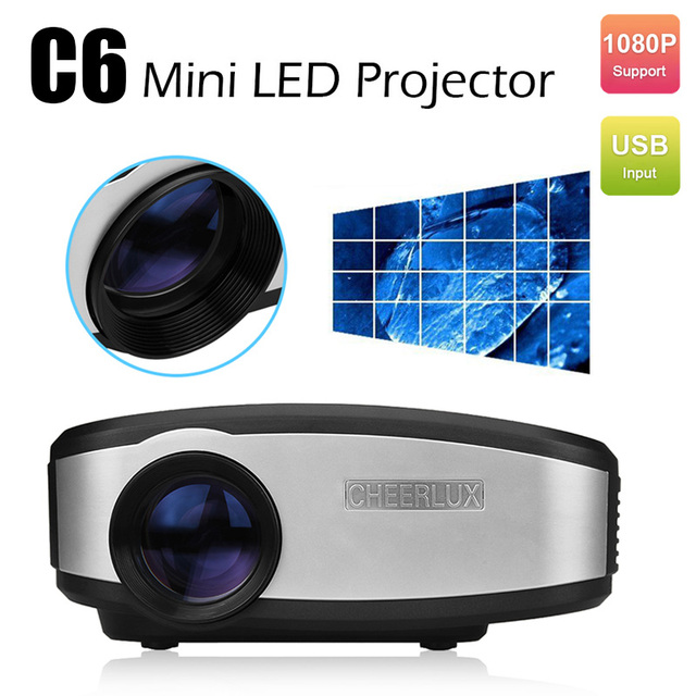 Mini LED LCD Projector HD Home Theater Digital TV Beamer 1080P Pocket Projectors Supports HDMI VGA USB TV Video CHEERLUX C6