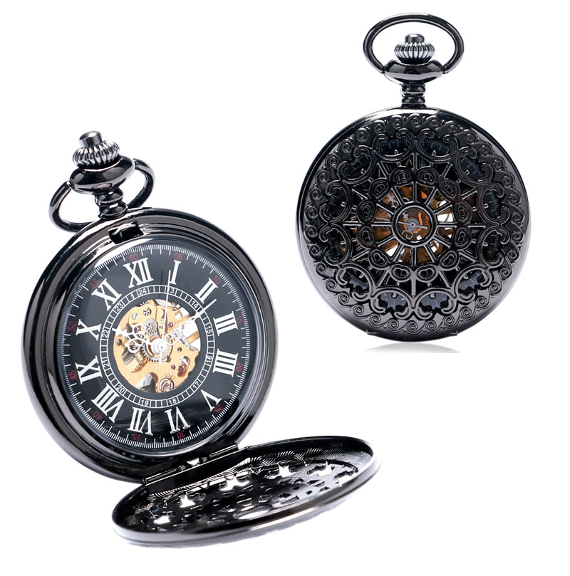 Vintage Cool Black Hollow Case With Roman Number Dial Skeleton Steampunk Mechanical Pocket Watch With Chain To Men Women roman numerals skeleton watches steampunk pocket watch with chain 2 sides open case luxury brand mechanical pocket watch