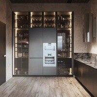 إطارات أبواب زجاجية من الألومنيوم بطراز إيطالي لباب خزانة المطبخ