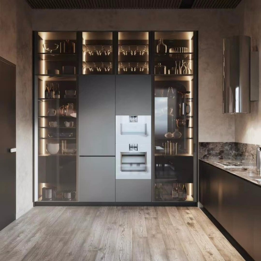 Italy Style Aluminum Glass Door Frames For Kitchen Cabinet Door