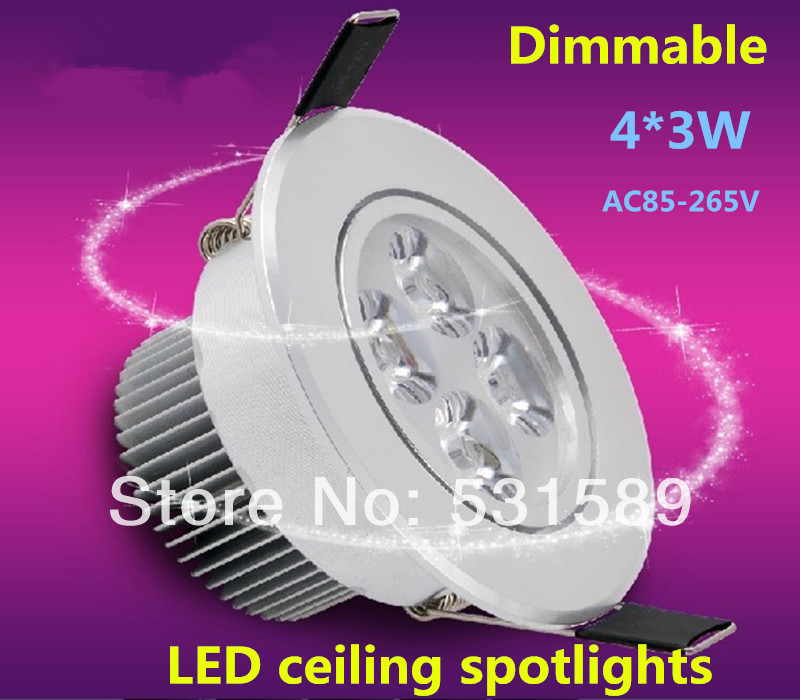 Free shipping Dimmable 10PCS 4*3W 12W high power LED ceiling light / cabinet light led lighting / led ceiling spotlight