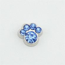 hot selling 10PCS pawprint  December  birthstone floating charms for glass floating lockets
