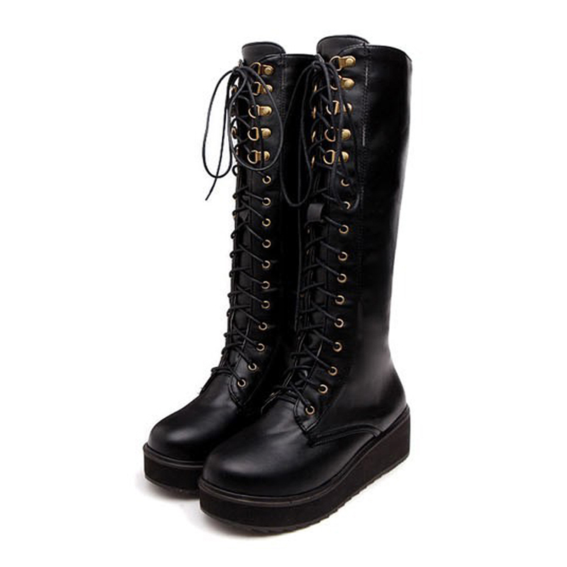 New Design Winter Boot Fashion Black PU Pointed Toe Lace Up font b Women b font