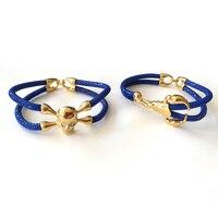 Beichong Punk Style 5mm Blue Stingray Bracelet Genuine Leather Bracelet Gold Stainless Steel Skull Bracelet for Women Men Gift