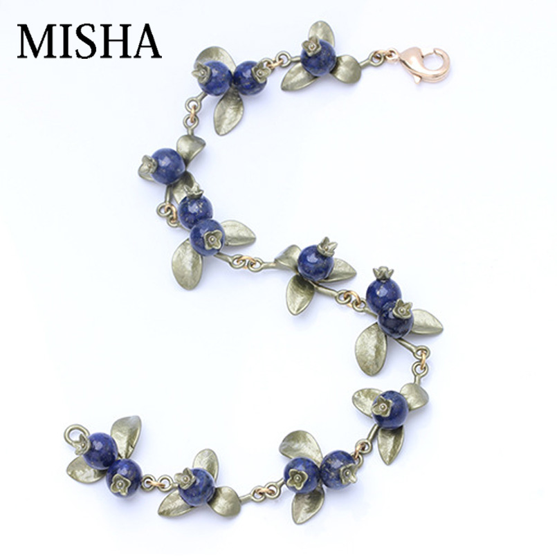 MISHA 2018 Fashion Jewelry Blue Lapis laz blue raspberry shape Handmade Fine JewelryBracelets & Bangles High Quality Accessories