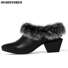 OUQINVSHEN Pointed Toe Square heel Women's Boots Shallow Fur Women Ankle Boots Winter Casual Fashion Rabbit hair Ladies Boots