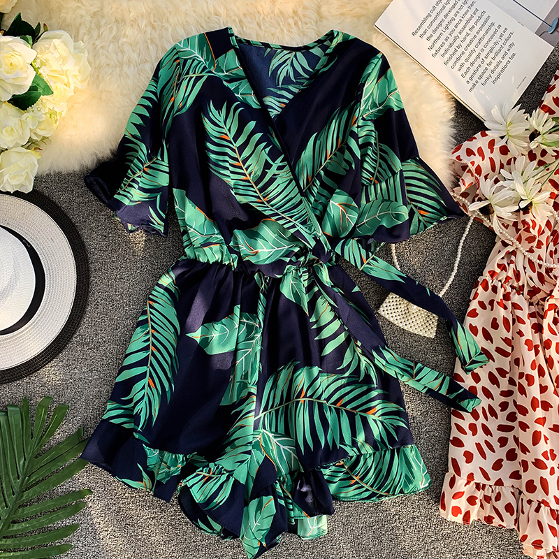Summer Women Fashion V-neck Printed Floral Playsuit Wide-leg Shorts Waistband Ladies Holiday Trumpet Sleeves   Romper   Overalls