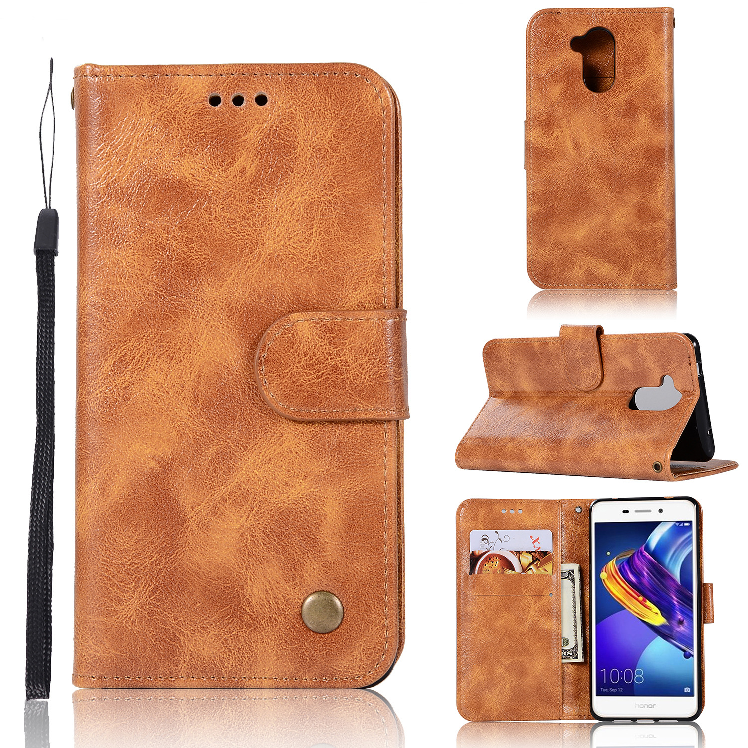 Image 2 - 20PCS Retro Business Cases Wallet For Huawei Honor 6C Pro Case Retro Flip Book Leather Cover For Huawei 6C Pro Phone Protector-in Wallet Cases from Cellphones & Telecommunications