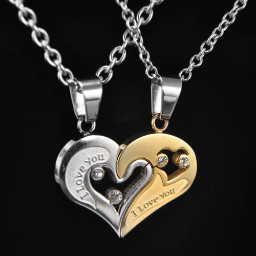 Genuine 316L stainless steel heart pendant for lovers carved I LOVE YOU