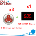 Беспроводная кнопка вызова пейджер система Ycall официант пейджер ресторан Кнопка обслуживания клиентов (1 дисплей + 3 кнопки вызова)