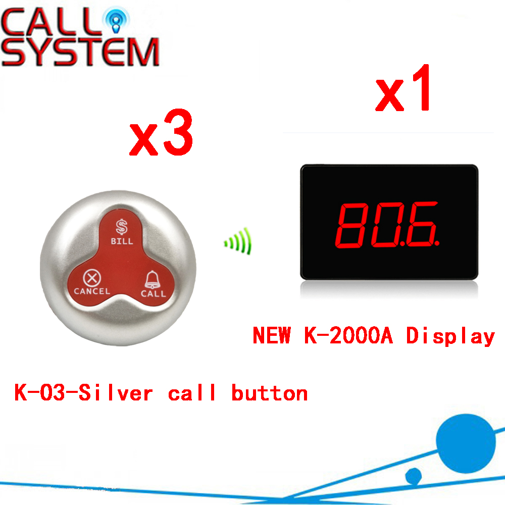 Wireless Calling Service Call Button Pager System Ycall Waiter Pager Restaurant Button Service Customer(1 display+3 call button) tivdio 10pcs wireless call button transmitter pager bell waiter calling for restaurant market mall paging waiting system f3286f