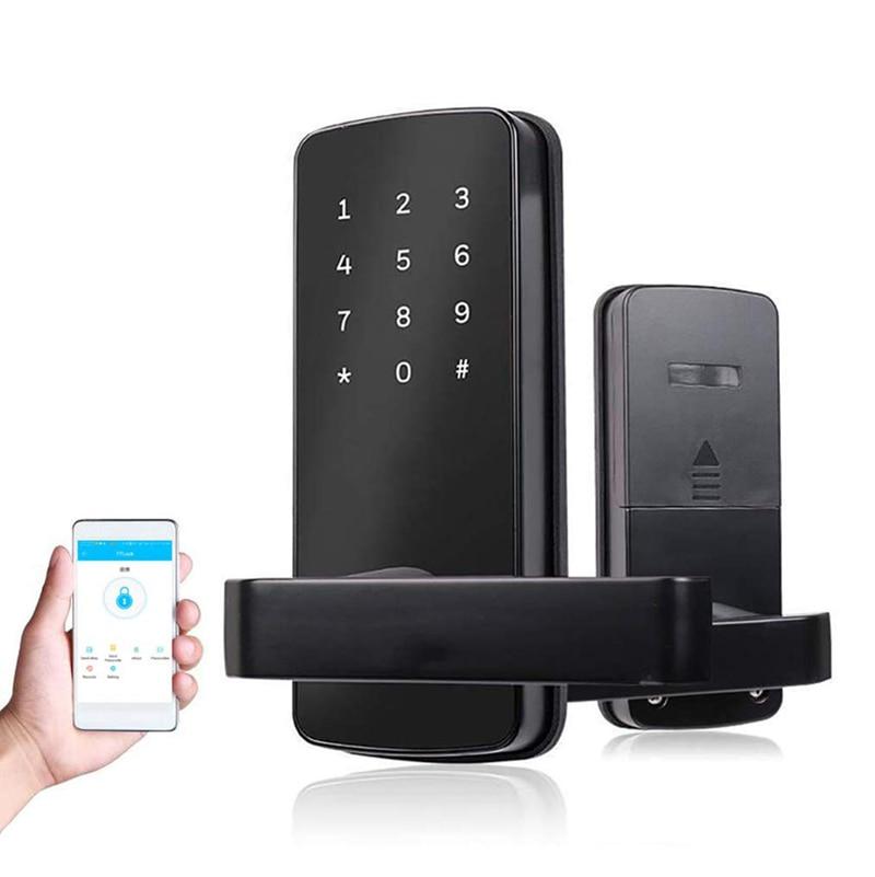 Serrure intelligente Bluetooth sans clé écran tactile serrure de porte numérique pêne dormant intelligent entièrement automatique (avec poignée)