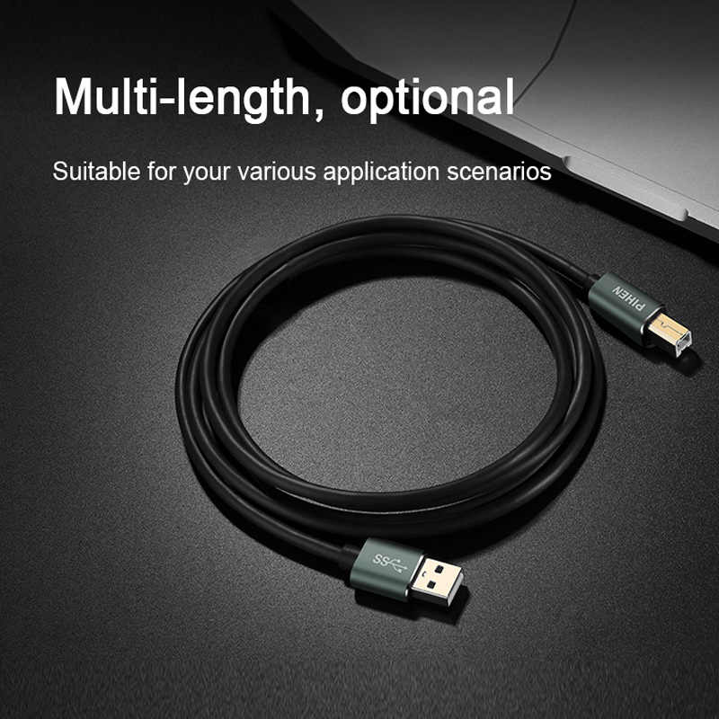 USB Printer Cable for HP Canon Epson Printer Machine Extension Cable AM BM  Square Mouth Connect to Laptop Desktop for Chromebook