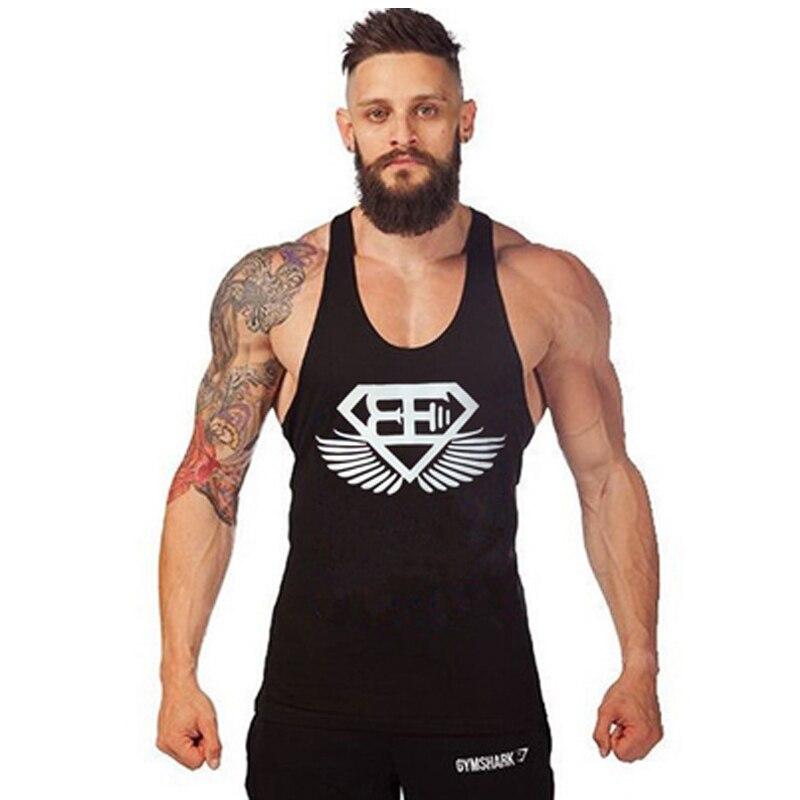 New 2017 Summer Letter printing Tank Top Men Bodybuilding Fitness Singlet Golds Cotton Tank Tops Sleeveless Shirt European Size