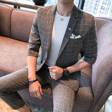 Slim Fit Suit Men Grey Plaid 2 Piece Half Sleeve Prom Dress Boys Casual Coustume Homme For Mens Spring Summer 2019
