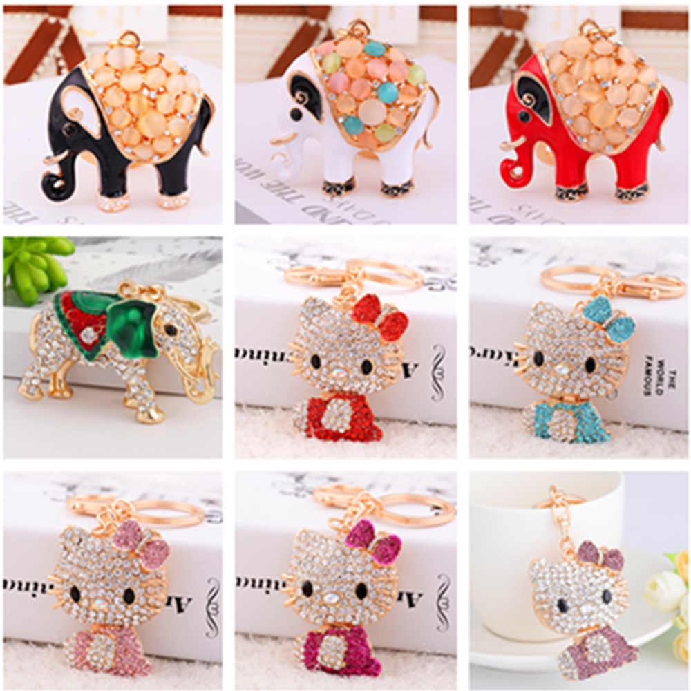 2019 Fashion Diy Full Special Shaped Diamond Cartoon Animal Keyring Keychains Cross Stitch Embroidery Women Bag Key Chain