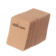 100 Pcs/Set High Quality Paper Brown Cards Jewelry Earrings Ear Studs Display Packaging Card