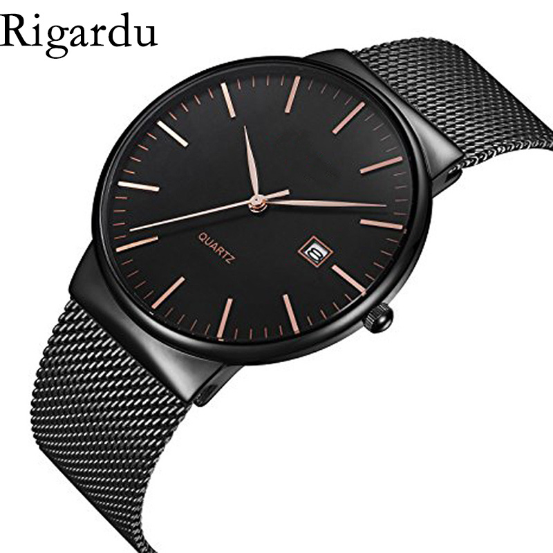 Luxury Men Wrist Watch Stainless Steel Band Dial Auto Date Display Business Male Gift Classic Quartz Wrist Watches #25 geneva men s large dial cool quartz stainless steel business wrist watch