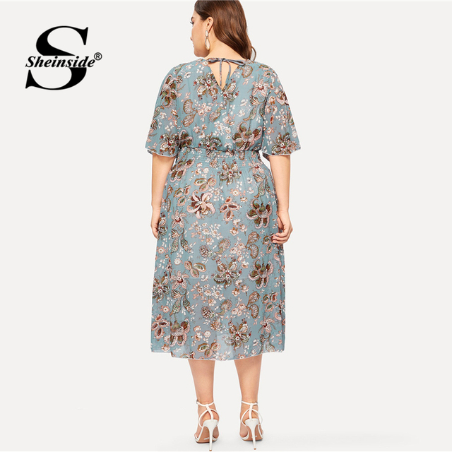 Sheinside Plus Size Elegant Floral Print Chiffon Dress Women 2019 Summer V Neck Elastic Waist Dresses Ladies Straight Midi Dress 1