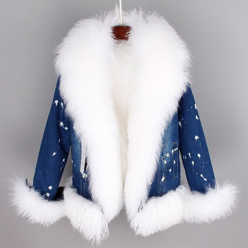 Parkas Ciel Laine Pu Col Chaud Hot Grand Réel Manteaux Jeans Épais Bouclés Vintage Vestes Femme Denim Hiver bleu Manchette Naturel Moutons New Royal nRCqfwZxC