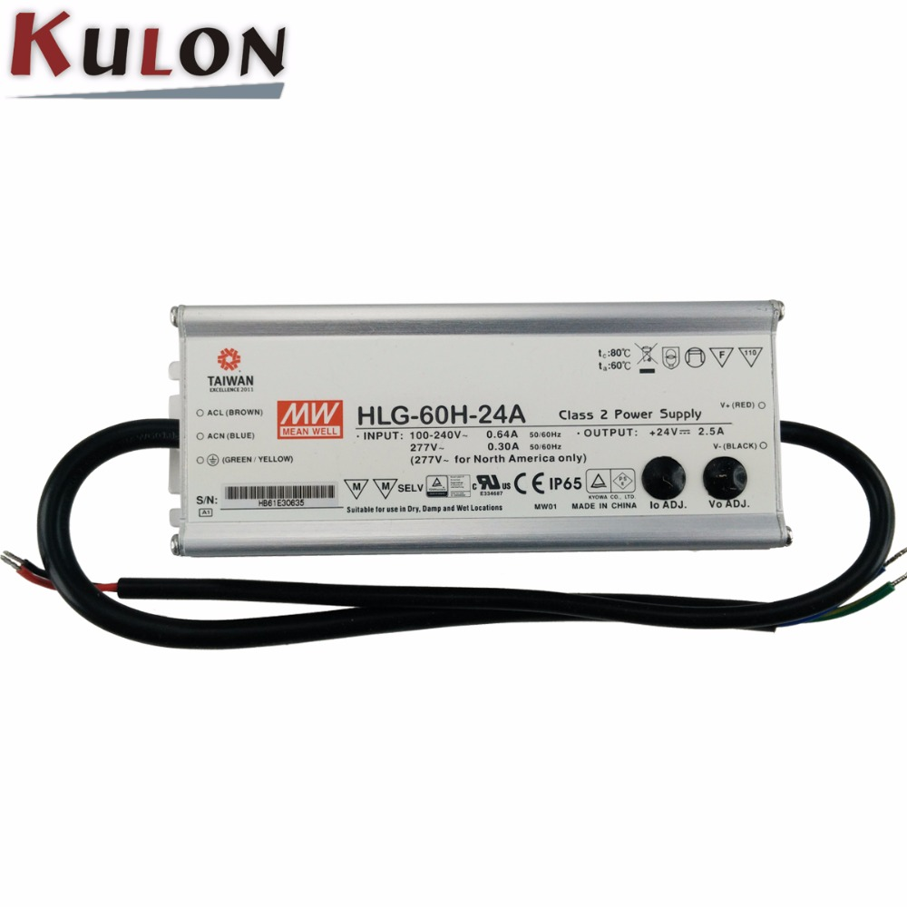 Original Mean well LED driver HLG-60H-24A 60W 24V 2.5A adjustable AC/DC LED Power Supply with PFC original mean well led driver hlg 60h 36a 61 2w 36v 1 7a adjustable ac dc power supply with pfc