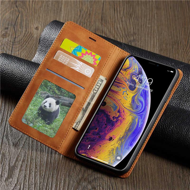 Magnetische Leather Case Voor Iphone 11 Pro Xs Max Xr 7 8 6 6S Plus 5S Se Luxe portemonnee Flip Kaarthouder Stand Telefoon Tassen Etui Cover