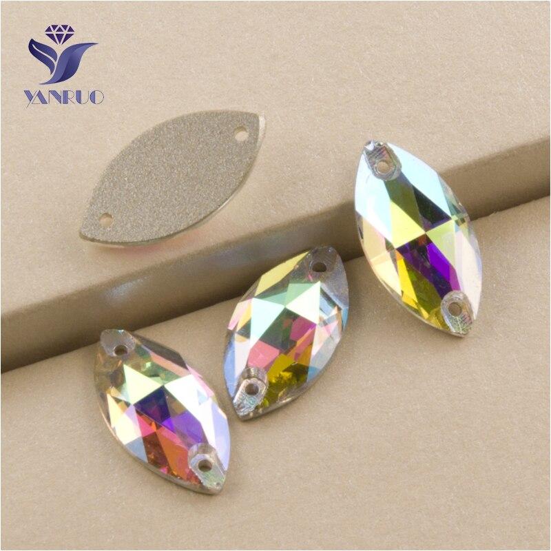 YANRUO 3223 toutes les tailles AB Strass couture pierres de verre Strass Flatback Navette coudre sur cristal pour robe
