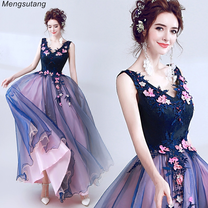 Robe de soiree Lace V Neck Sleeveless Beading Blue Luxury Elegant Long Evening Dress Famous Appliques Flowers Party Formal Dress