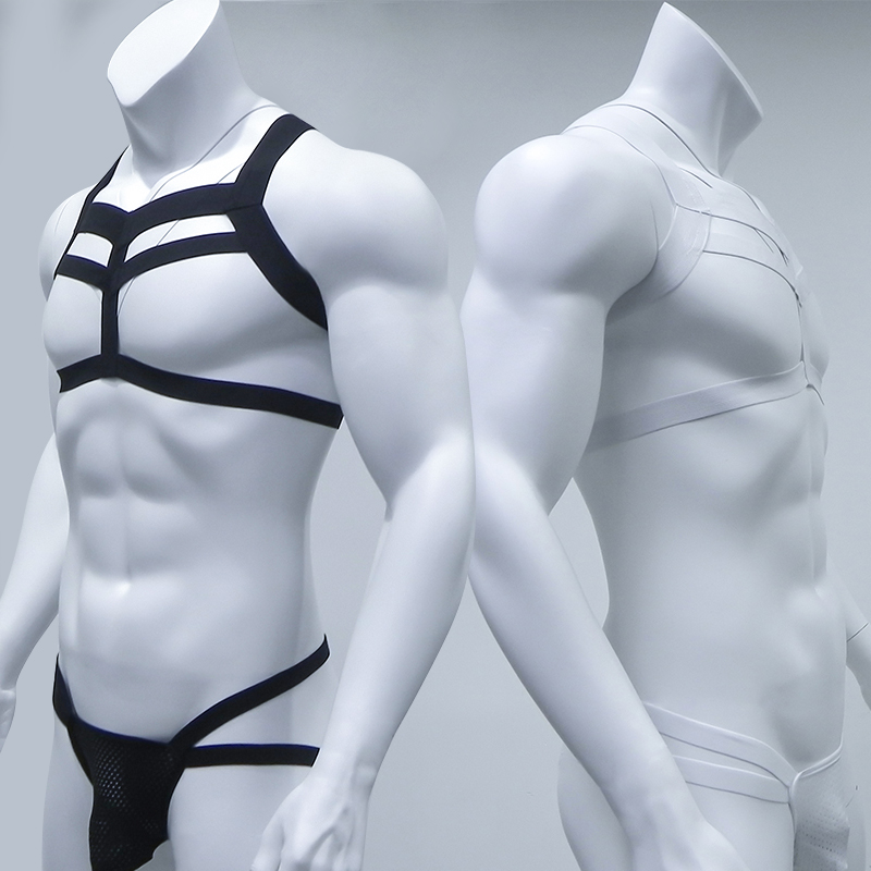Bondage Mens Harness Thongs Set Body Chest Costume G-string Jockstrap Lingerie Man Halter Neck Hollow Out Nightclub Costume