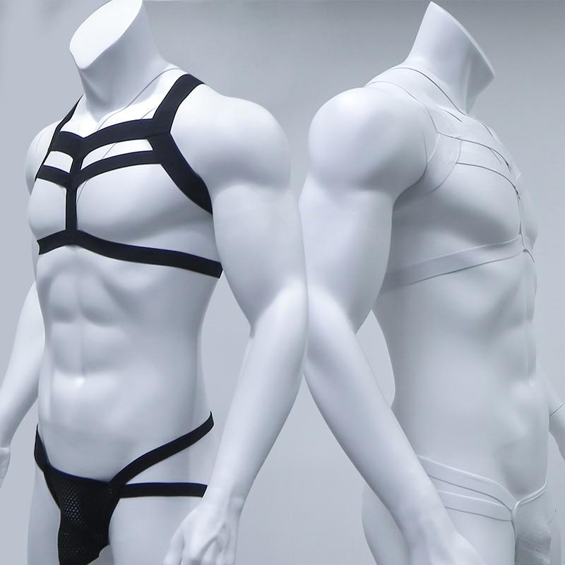 Bondage Mens Harness Thongs Set Body Chest Costume G-string Jockstrap Lingerie Man Halter Neck Hollow Out Nightclub Costume