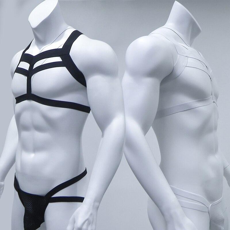 Bondage Mens Harness Thongs Set Körper Brust Kostüm G-string Suspensorium Dessous Mann Halter Neck Aushöhlen Nachtclub Kostüm