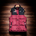 Autumn and Winter Men's Fashion Print Cotton Down Vest Slim Color Block Fancy Vest Men's Casual Vest Outerwear M-5XL