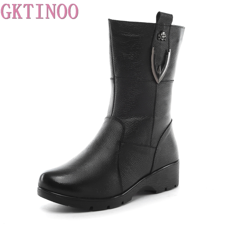GKTINOO High Quality Women Genuine Leather Shoes Casual Ladies Boots Winter Warm Flat Womens Boots Plush Large SizeGKTINOO High Quality Women Genuine Leather Shoes Casual Ladies Boots Winter Warm Flat Womens Boots Plush Large Size