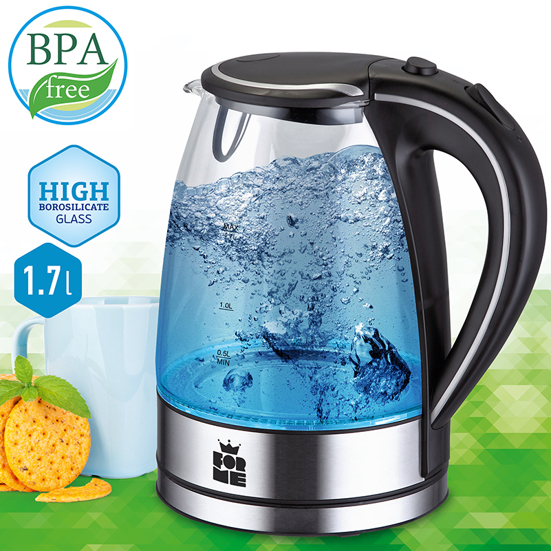 Electric Kettles Stainless Steel with LED Light Glass Kettle 1 7 L 2200 W Auto Shut