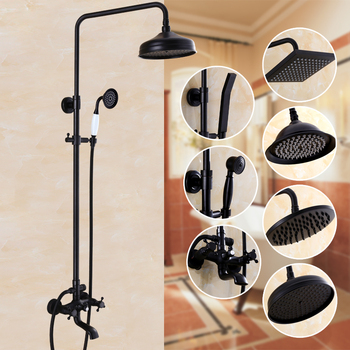 Bathroom Black Antique Brass Shower Column Shower Set Wall Mounted 8 Rainfall Shower Mixer Tap Faucet 3-functions Mixer Valve bakala bathroom led shower set 2 functions led digital display shower mixer concealed shower faucet 8 inch rainfall shower head