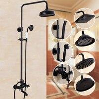 Bathroom Black Antique Brass Shower Column Shower Set Wall Mounted 8 Rainfall Shower Mixer Tap Faucet 3 functions Mixer Valve
