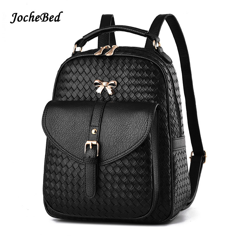 2017 Weave School Teenage Backpack For Girl Female Schoolbag Leather Printing Backpack Sequin High Quality Pu