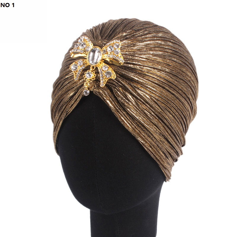 European And American Popular Headdress Gold Velvet Indian Hat Muslim Headband Alloy Drill Hair Accessories DHL Free Shipping